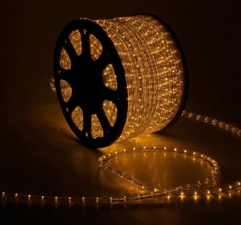 Дюралайт светодиодный, чейзинг, 11мм - 3 жилы - 24 led/m, Желтый  - 100м