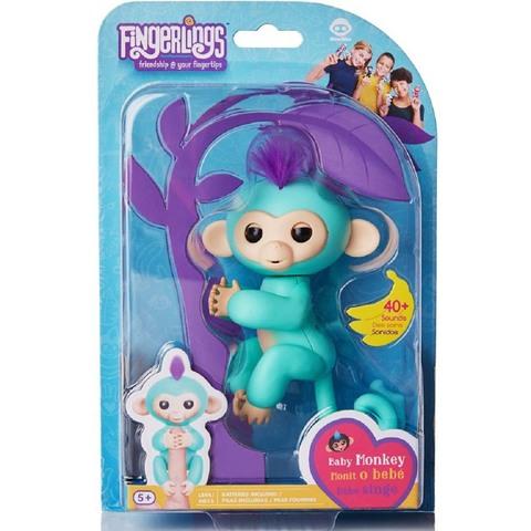 Фингерлингс Обезьянка Зоуи бирюзовая с фиолетовым хохолком