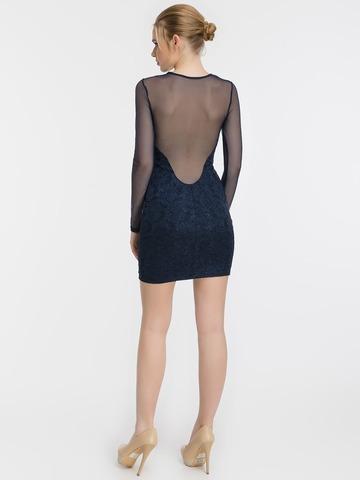 Блестящее кружевное мини платье, синее 1