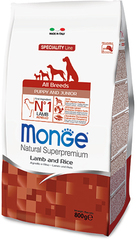 Monge Natural Superpremium Dog Puppy and Junior полноценный корм для щенков всех пород с ягненком и рисом 800гр