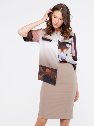 Фото разноцветная блуза с цветочным принтом и ложными карманами на груди - Блуза Г572-188 (1)