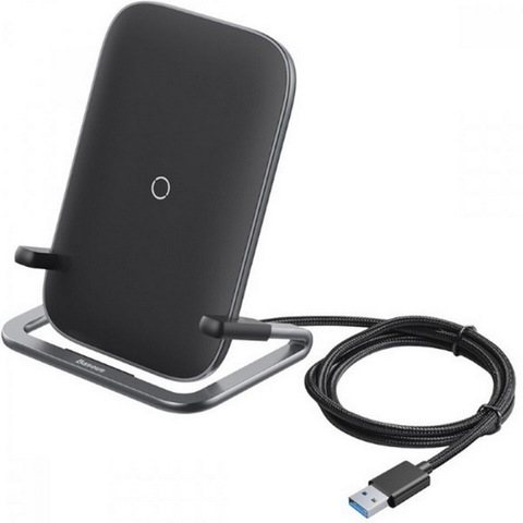 БЗУ Baseus QI Rib Horizontal and Vertical Holder Wireless Charger QC, 15W, (WXPG-01), black