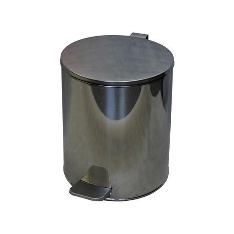 Ведро мусорное с педалью 15л стальное, хром, 250х330мм