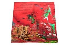Итальянский платок из шелка красный с принтом 5451