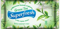 Салфетки влажные SUPER FRESH Green tea, 15шт