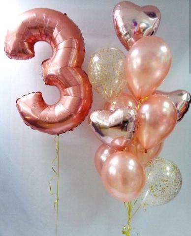 Фонтан из шаров с цифрой Розовое золото