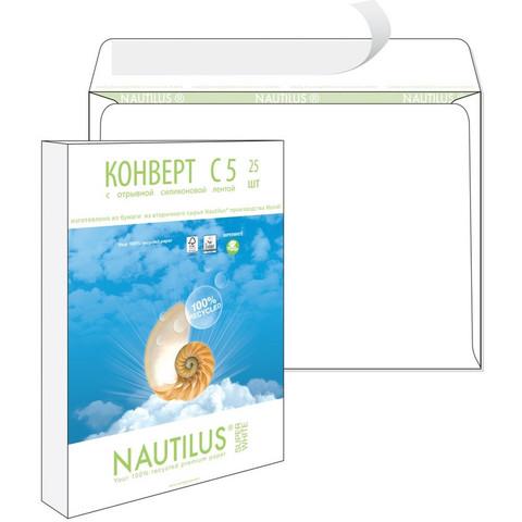 Конверт Bong Nautilus С5 80 г/кв.м белый стрип с внутренней запечаткой (25 штук в упаковке)