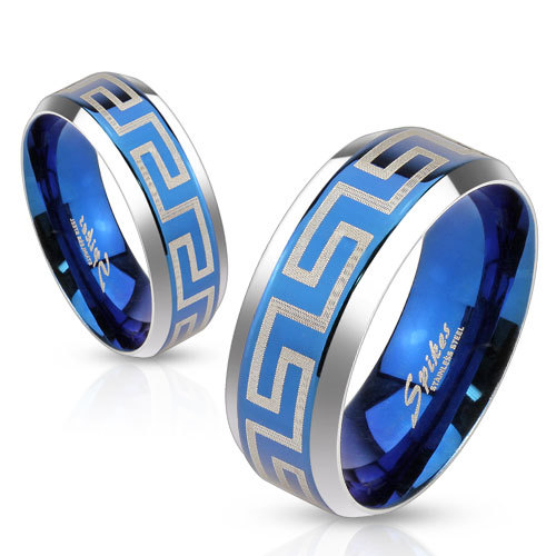 Синее кольцо с греческим орнаментом для мужчин и женщин, Сталь, SPIKES R-M3650