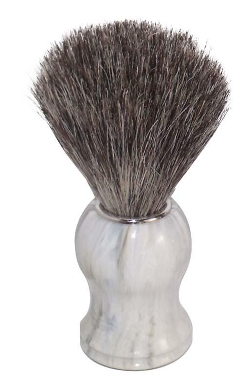 Помазок для бритья Mondial, пластик, ворс барсука, рукоять - цвет - белый мрамор