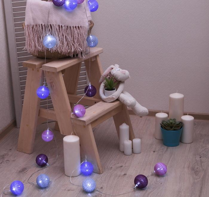 Ночник гирлянда Клубки шарики Пурпурные d-6 см, 5 м фото