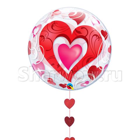 Прозрачный шар бабл с витыми сердцами, 56 см