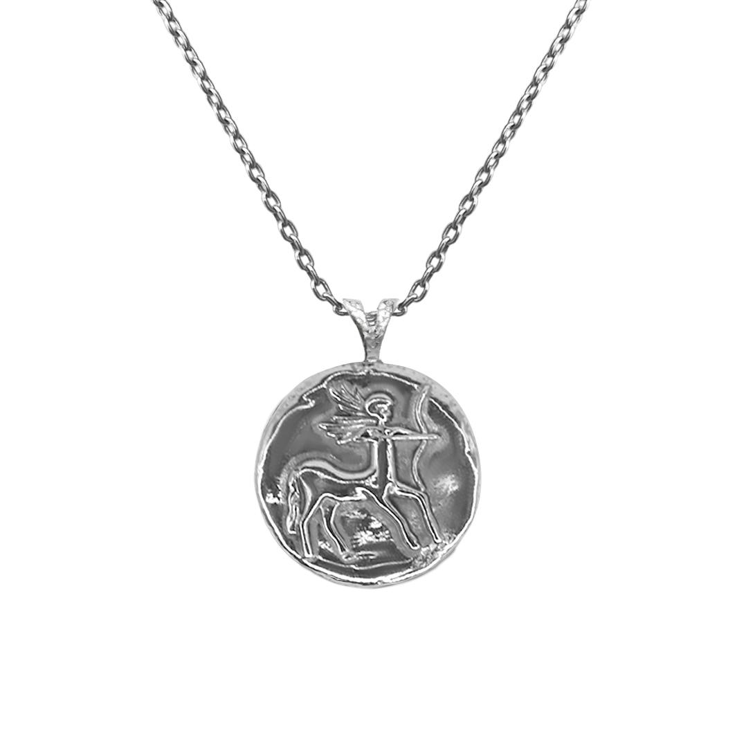Pendant, Zodiac sign Sagittarius on a chain, sterling  silver