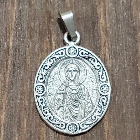 Нательная именная икона святая Ирина с серебрением кулон медальон с молитвой