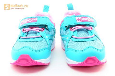 Светящиеся кроссовки для девочек Фиксики на липучках, цвет бирюзовый, мигает картинка сбоку. Изображение 5 из 14.