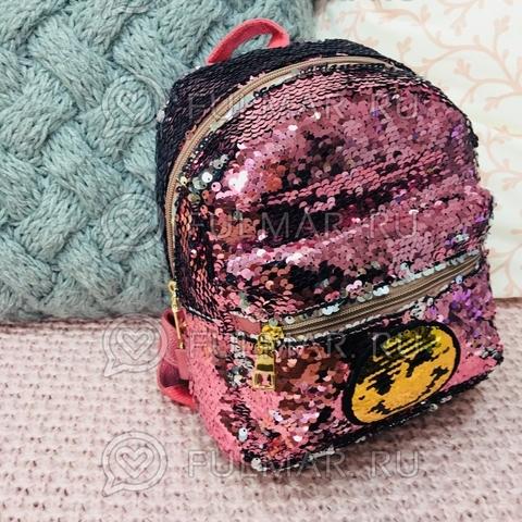 Рюкзак с двусторонними пайетками нашивкой Смайлик меняет цвет Розовый-Серебристый