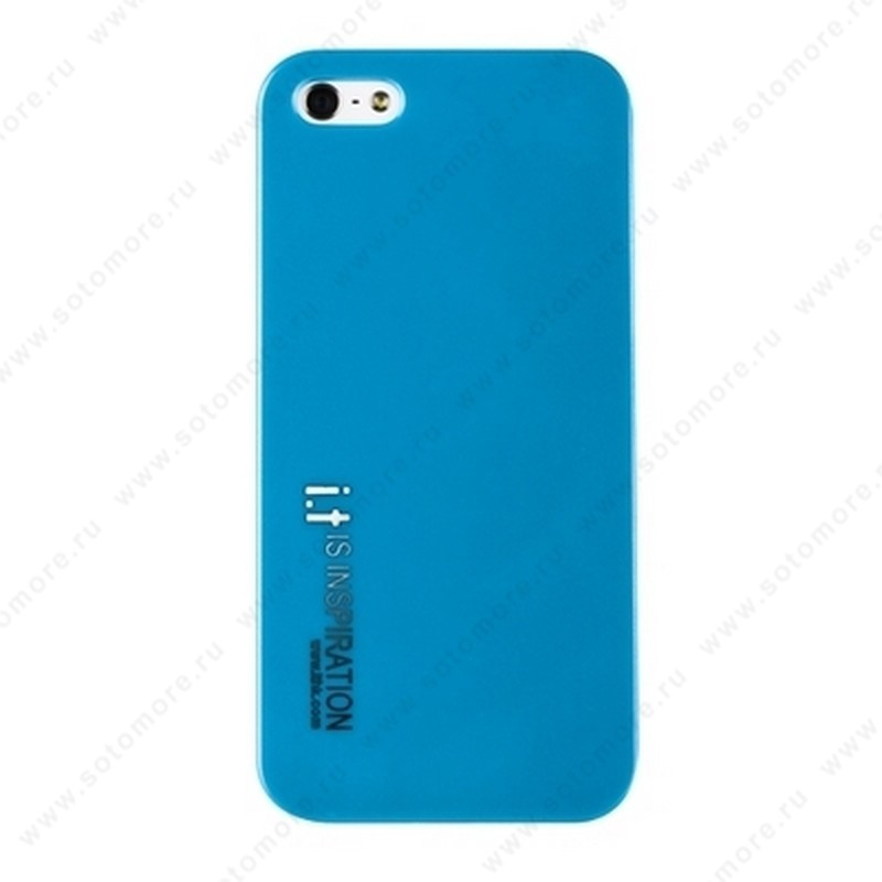 Накладка i.t с водонепроницаемым мешком для iPhone SE/ 5s/ 5C/ 5 с маленькими буквами голубая