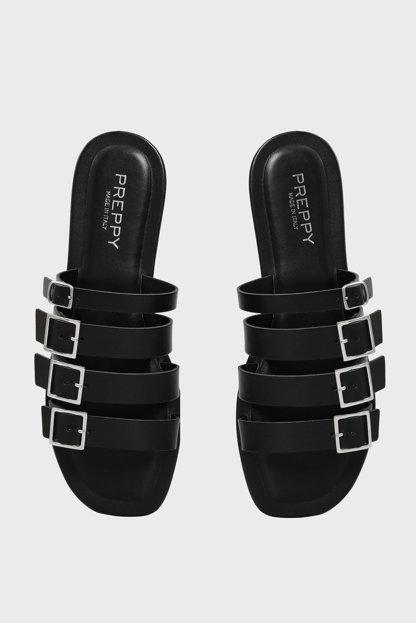 Женские черные кожаные слайдеры Preppy