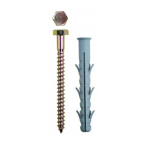 Дюбель рамный нейлоновый, в комплекте с оцинкованным шурупом, шестигранная головка, 10 x 115 мм, 50 шт, ЗУБР Профессионал