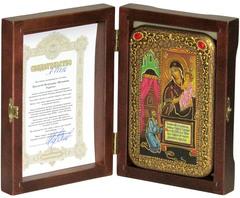 Инкрустированная икона Божией Матери «Нечаянная Радость» 15х10см на натуральном дереве в подарочной коробке