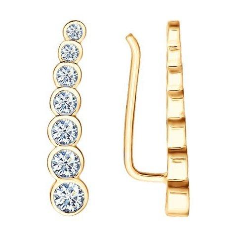 93021056 - Серьги -зажимы из золоченого серебра с фианитами