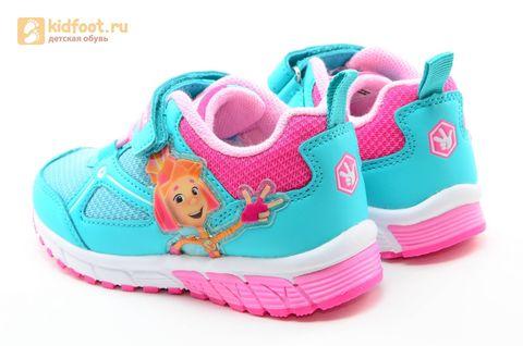 Светящиеся кроссовки для девочек Фиксики на липучках, цвет бирюзовый, мигает картинка сбоку. Изображение 7 из 14.