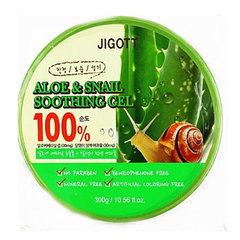 Jigott Aloe Snail Soothing Gel - Универсальный увлажняющий гель для лица и тела с Алоэ Вера и экстрактом слизи улитки