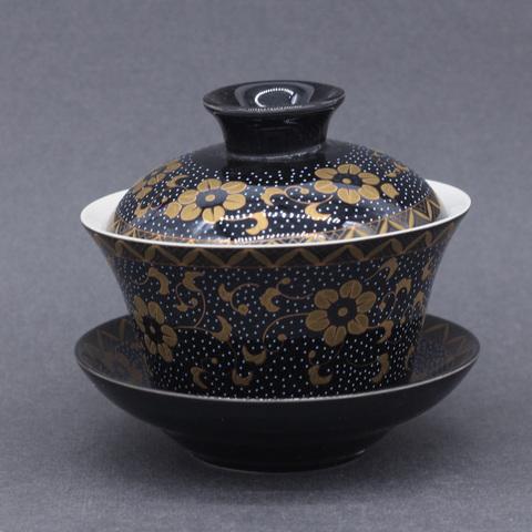 Гайвань черная с золотыми цветами, фарфор,  200мл