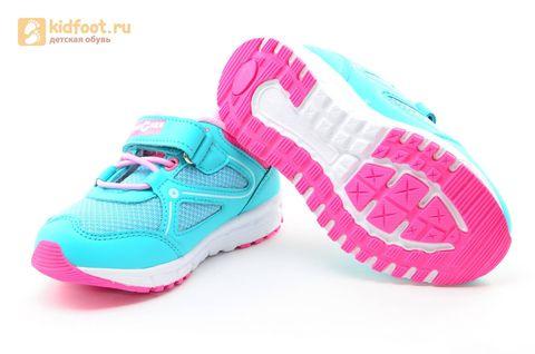 Светящиеся кроссовки для девочек Фиксики на липучках, цвет бирюзовый, мигает картинка сбоку. Изображение 9 из 14.