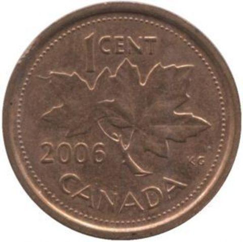 1 цент 2006 года. Канада. UNC