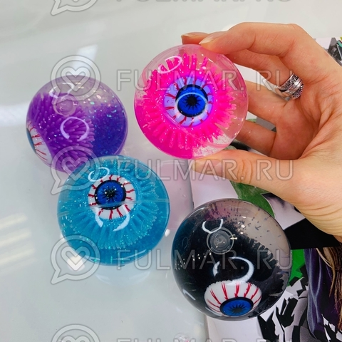 Мячик попрыгунчик светящийся Глаз с блёстками (набор 4 шт.)