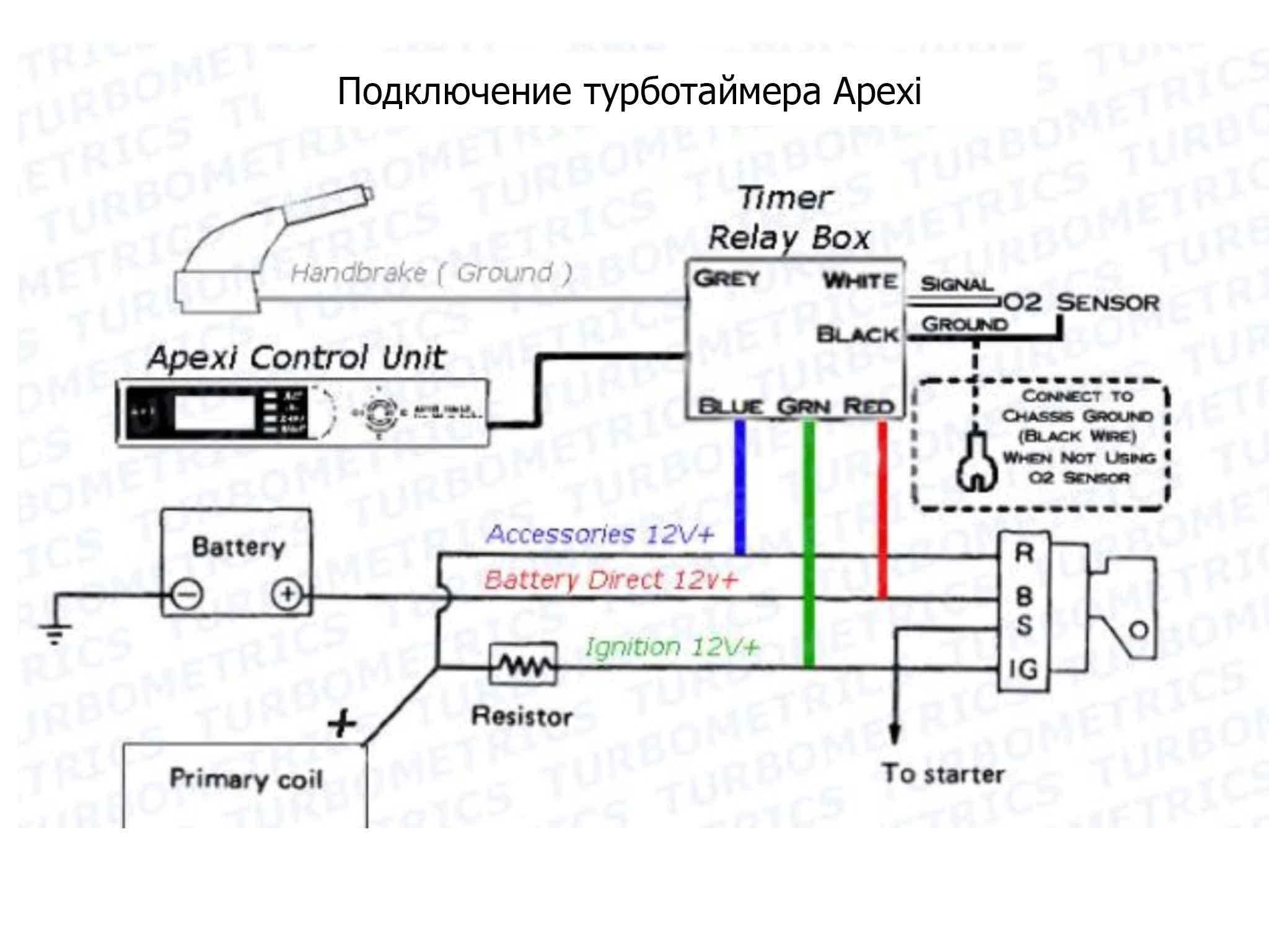 Схема подключения турботаймера 24в(Аналогична как и в версии на 12в )