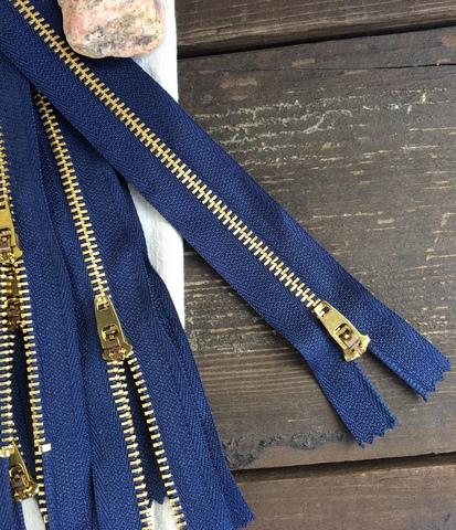 Молния джинсовая №4, 18см, синий