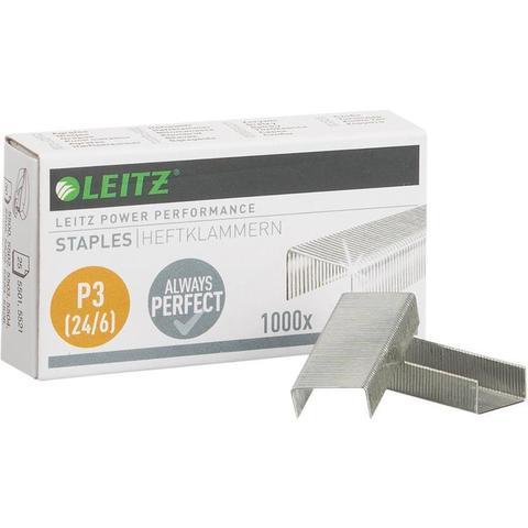 Скобы для степлера N24/6 Leitz никелированные (1000 штук в упаковке)