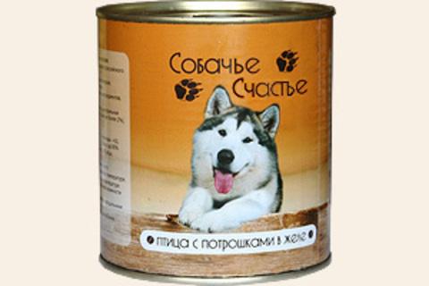 Собачье счастье Птица с потрошками в желе, 750г (упаковка 12 банок)