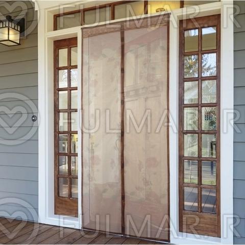 Антимоскитная сетка на дверь балкона и дома на магнитах с рисунком Цветы 90х210 см Бежевая