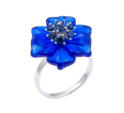 Кольцо с цветами из кварца и сапфиром Арт. БАсс