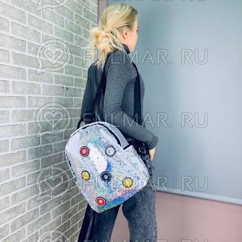 Рюкзак большой в двусторонних пайетках Блестящий серебристый-Белый модель