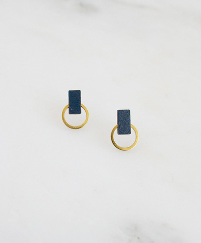 Серьги Orbit Studs in Midnight Blue