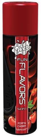 Разогревающий лубрикант Fun Flavors 4-in-1 Popp n Cherry с ароматом вишни - 121 мл.