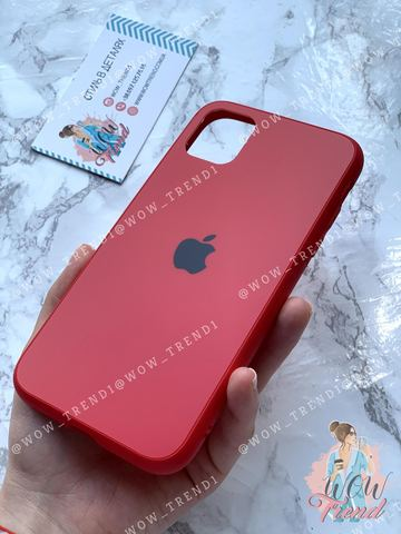 Чехол iPhone X/XS Glass Pastel Matte silicone /red/