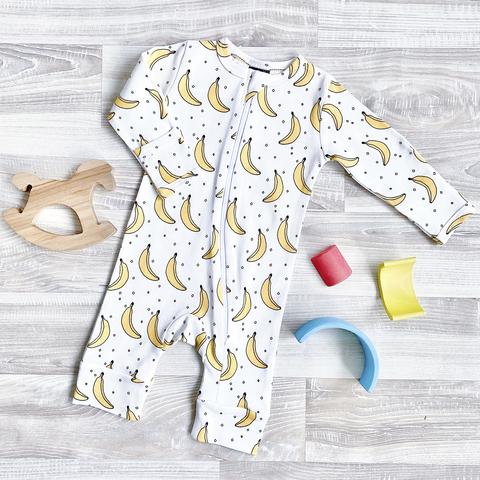 Комбинезон Mjölk Sleep and Play Бананы, на манжетах