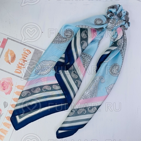 Платок с резинкой модный аксессуар для волос Ля-мур (цвет: голубой)