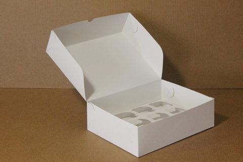 Коробка для 9 маффинов/капкейков 25*25*10см без окна, белая
