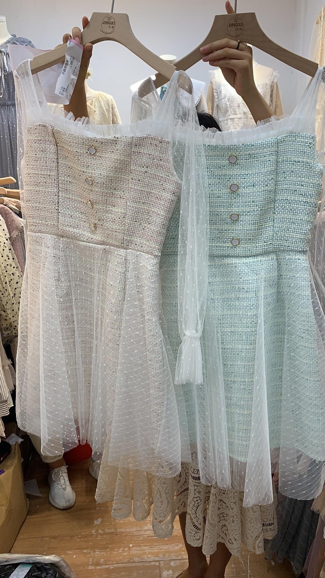 Твидовое платье с гепюром, мятный