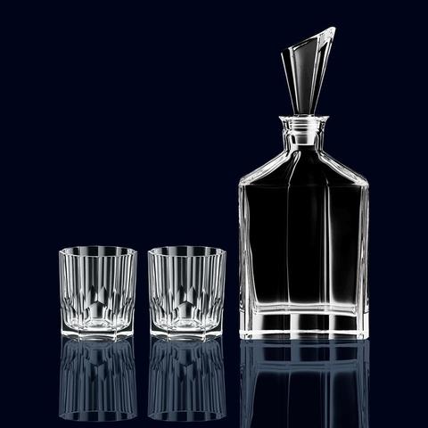 Набор из 2 хрустальных стаканов для виски и декантера Aspen