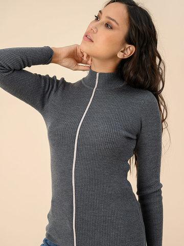 Женский джемпер серого цвета из 100% шерсти - фото 4