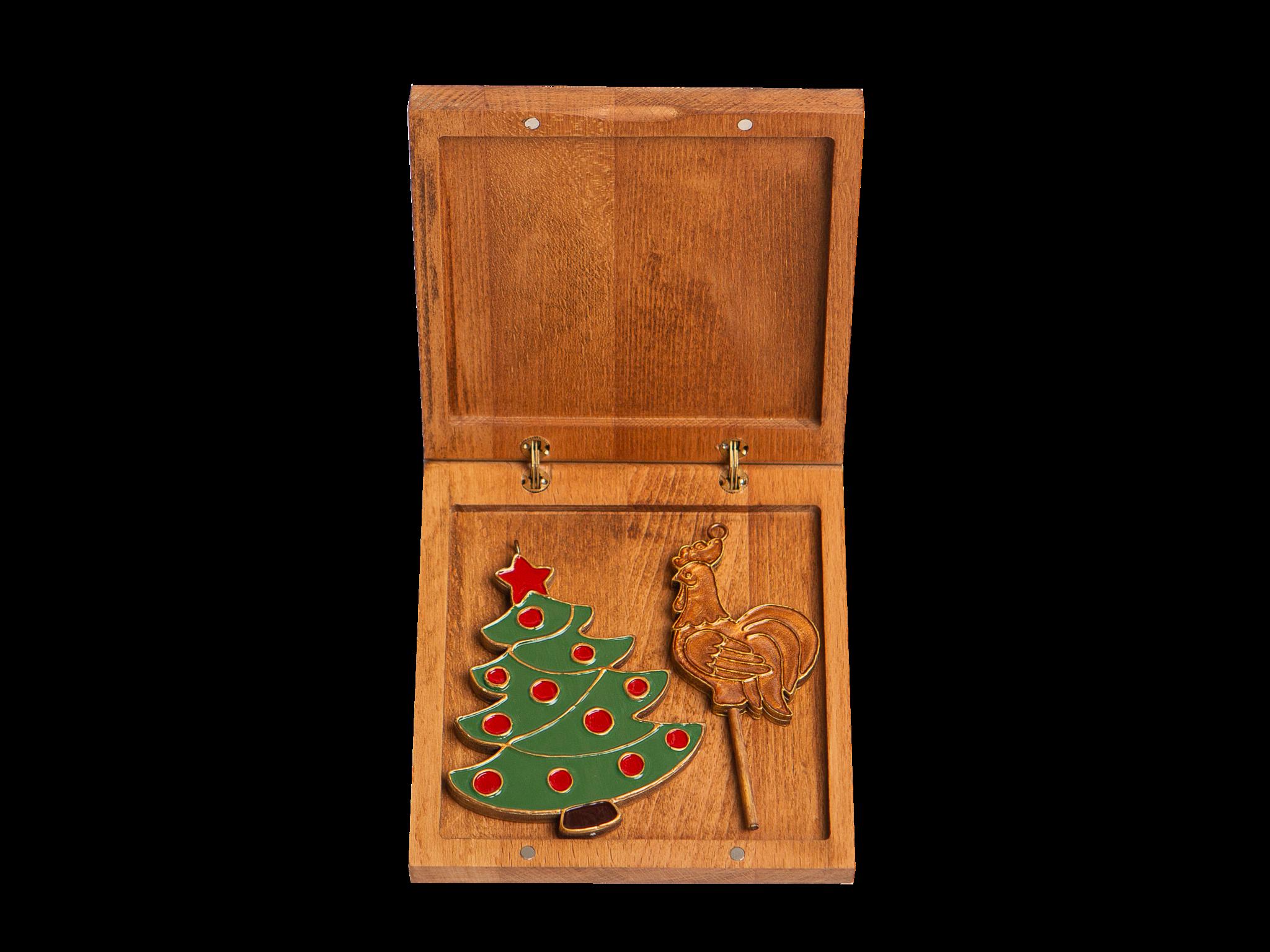 Подарочный набор из двух игрушек: Ёлочка, Петушок на палочке.