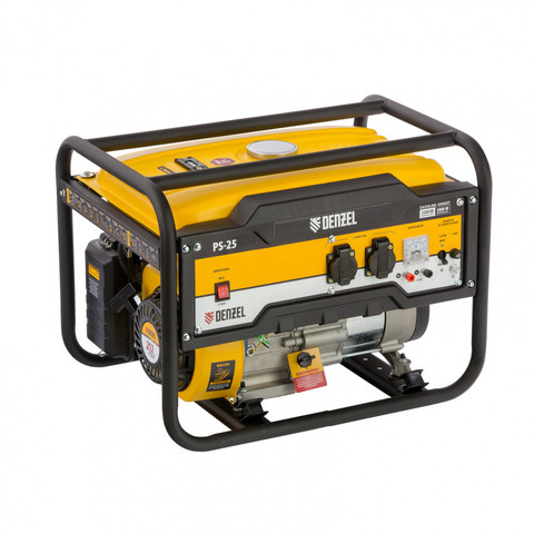 Генератор бензиновый PS 25, 2.5 кВт, 230 В, 15 л, ручной стартер Denzel