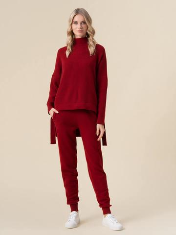 Женские брюки красного цвета из 100% кашемира - фото 2