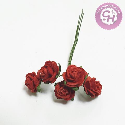 Розы из бумаги мини 1,5 см, букет 5 шт.